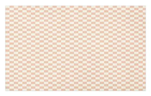 Ambesonne Geometric Doormat, Pale Salmon Colored Chess Table Like Modern Pink Color Squares Artwork Print, Decorative Polyester Floor Mat with Non-Skid Backing, 30 W X 18 L inches, Peach Cream ()
