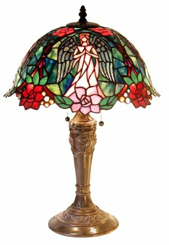 Warehouse of Tiffany 2856+BB656 Tiffany-style Angel Table Lamp, Green/Red 14' Stained Glass
