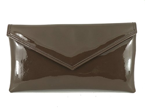 Loni Womens Neat Envelope Faux Leather Patent Clutch Bag/Shoulder Bag in Brown (Brown Patent Leather Bag)