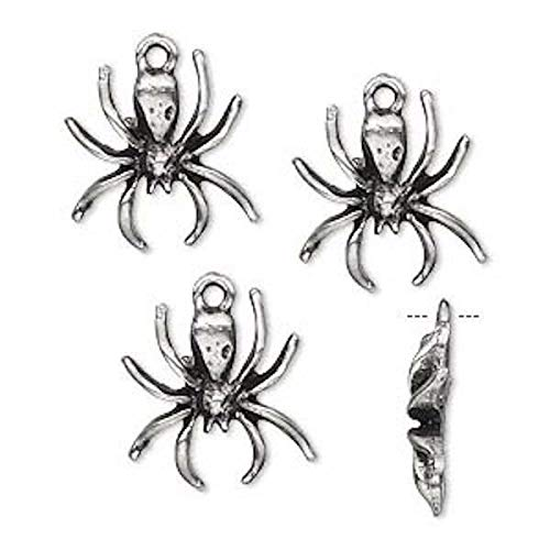 4 Antiqued Silver Pewter Spider Charms 16x15mm Jewelry Making Charms and Pendants - Spider Charm Pewter