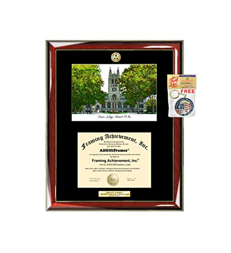 (AllGiftFrames Boston College BC Graduation Campus Image Sketch School Lithograph Major Logo Diploma Degree Display Engraved Graduate Idea Him Her Seal )
