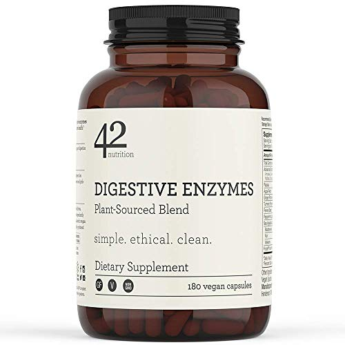 42Nutrition Digestive Enzymes Dietary Supplement – 180 Plant-Based Blend Capsules with Inulin Prebiotics for Healthy…
