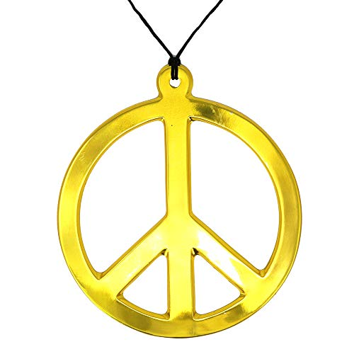 - Skeleteen Hippie Peace Sign Medallion - 1960s Gold Peace Symbol Necklace Costume Accessory - 1 Piece