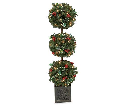 (Winter Wonder Lane 4' Jolly Holly Berry 3-Tier Topiary)