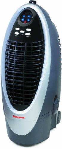 Honeywell CS10XE Verdunstungsluftkühler, mobiles Klimagerät, kühlt und reinigt die Luft bis 16m², Fernbedienung, 10 Liter Wassertank, energieeffizient, grau