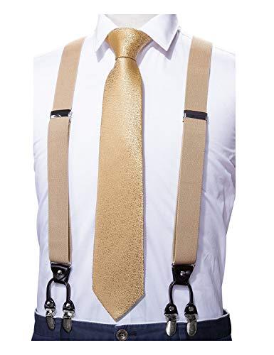 Barry.Wang Men Gold Suspender Tie Set Elastic Y Type Heavy Duty 6 Clips Designer Gift -