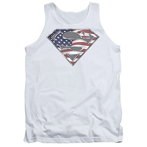 Superman+tank+tops Products : Superman DC Comics All American Flag Shield Logo White Adult Tank Top Shirt