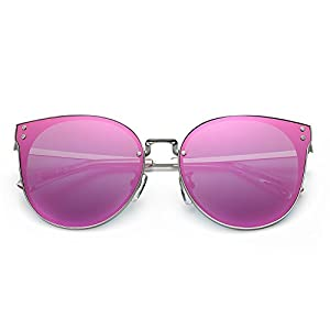 DONNA Trendy Oversized Mirrored Sunglasses Cat Eye Frame Circle Lens Hippie Hipster Style D09(Pink)