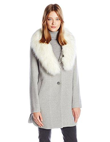 T Tahari Women's Olivia Fitted Plaid Wool Coat, Heather Grey, XS