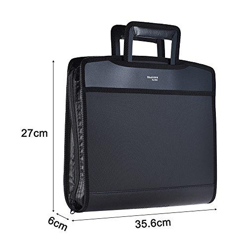 Aibecy Carpetas de archivos multifuncional Cartera de negocios A4 bolsa con bolsillos de CD, asa y cremallera: Amazon.es: Oficina y papelería