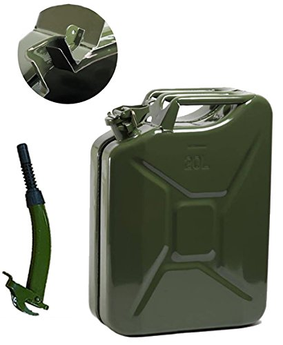 Opticare 20 Litre Green Metal Jerry Can With Spout (UN Approved, GS/TUV Certification)