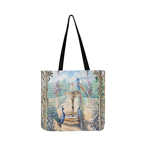 separation shoes f70ba 40454 Precious Peacock And Rose Flower Home Garden Lansc Canvas Tote Handbag  Shoulder Bag Crossbody Bags Purses