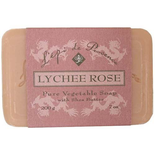 (4 Bars of L'epi de Provence Triple Milled Lychee Rose Shea Butter Vegetable Soaps from France 200g)