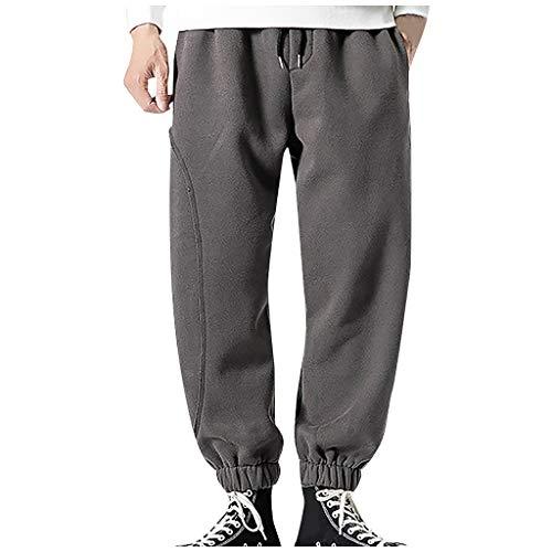 Mwzzpenpenpen Men's Simple and Fashionable Solid Trousers Elastic Straight Lightweight Fleece Warm Lightweight Pant
