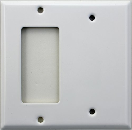 Smooth White Two Gang Wall Plate - One GFI/Rocker Opening One Blank