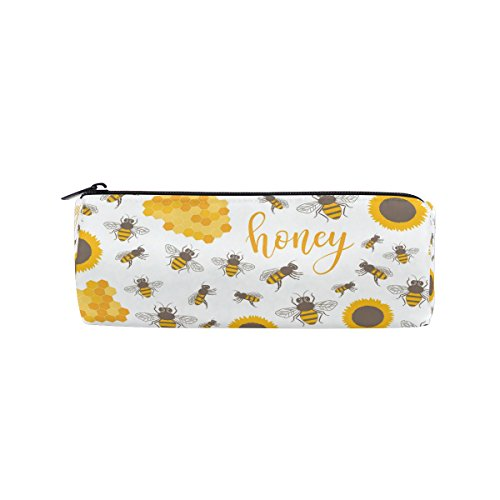 Yuihome Sunflowers Bees Honey Sweet Pencil Bag Pen Case Stationery Pouch Coin Purse with Zipper for School Work Office (Good Holder Work Bee)