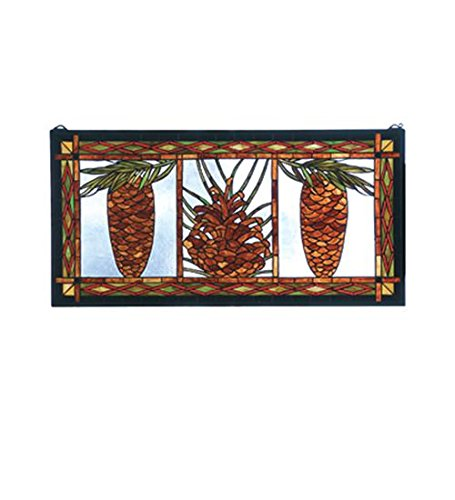 Meyda Tiffany 81470 Northwoods Pinecone Stained Glass Window Panel, 36