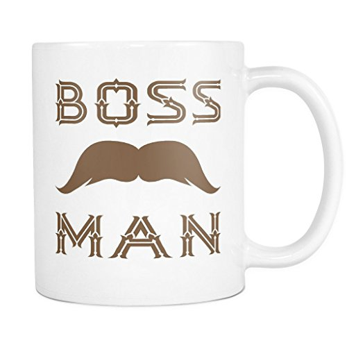 BOSS MAN w/ Mustache/Moustache Coffee Mug, PERFECT PERSONALIZED MEN GIFT for Boss Husband Boyfriend Father Son Guy! Attractive Durable White Ceramic Mug STYLE 4 (Photo Booth Strip Costume)