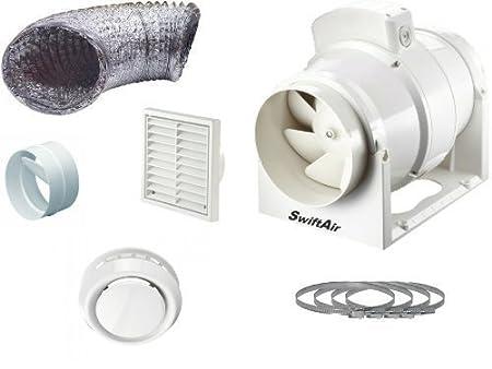 high power 220 m3 hr inline loft mounted bathroom toilet extractor rh amazon co uk