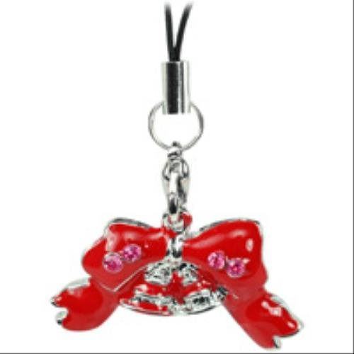 Cellet Christmas Phone Charm - Red Christmas Bow W/ Sparkling Light Pink (Cellet Christmas Phone Charm)