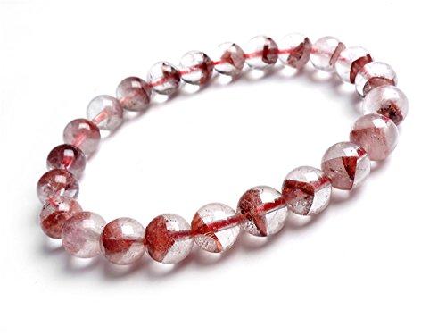 Natural Red Phantom Quartz Crystal Stretch Round Beads Bracelet 8.5mm