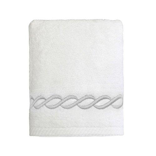 (Linum Home Textiles Soft Twist Cadena Premium Authentic Soft 100% Turkish Cotton Luxury Hotel Collection Hand Towel, White/Silver)