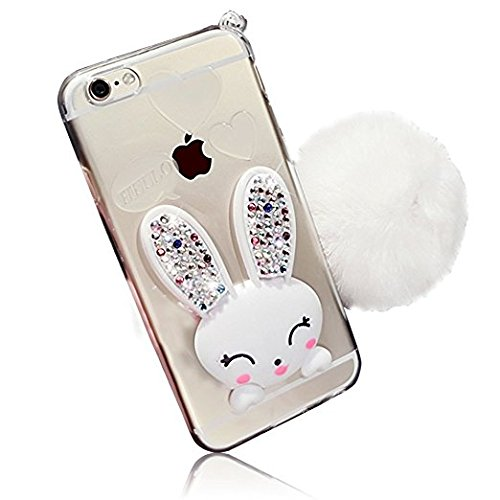 - iPhone 6 Plus Slim Clear Case, GreenDiemnsion Cute Cartoon Rabbit Bling Glitter Soft TPU Silicone [Stand Diamond Ear] Transparent Protective Cover + Hairball Pompon Wristlet For iPhone 6s Plus White