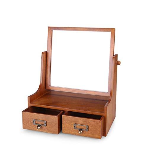 HZH Caja de Joyeria Exquisita Joyeria de Madera Vestir Maquillaje Mesa de Escritorio Desktop Mirror Mano Regalo de la Joyeria Caja de Almacenamiento Espejo Retro Europeo Alta Definicion,Madera,32,5 ×