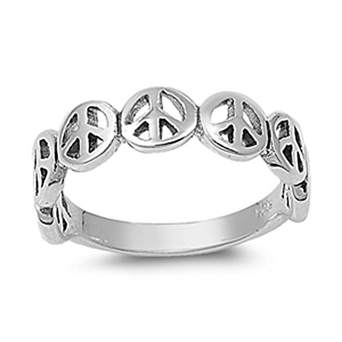 Oxidized Peace Sign Stackable Beautiful Ring 925 Sterling Silver Band Size 8