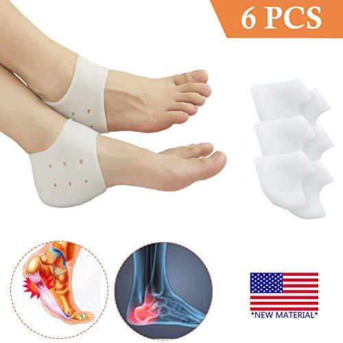 Heel Cups, Plantar Fasciitis Inserts, Heel Pads Cushion (3 Pairs) Great for Heel Pain, Heal Dry Cracked Heels, Achilles Tendinitis, for Men & Women. (Gel Heel Cups) (Heel Pads)