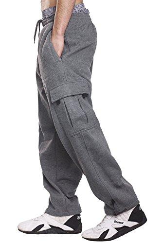 Pro 5 Fleece Cargo Sweatpants 60/40 Light Heavy Soft Warm Active pants (XL, Dark Grey) (Cargo Pocket Sweatpants)