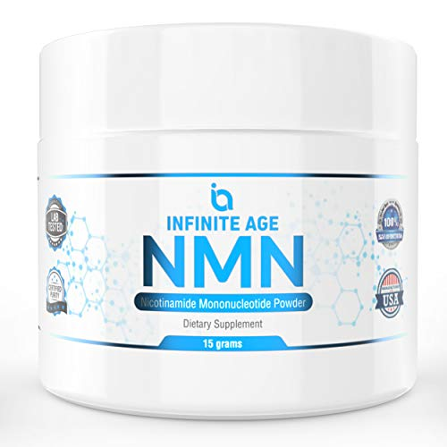 41wHSUI25PL - NMN Supplements, NMN Nicotinamide Mononucleotide, Nad Booster By Infinite Age  NMN Powder 15 GRAMS (Per Jar) For Anti Aging, Brain Function, Stress, Health, Energy. NMN Molecule Supplement