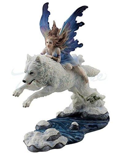 448912b10077 Veronese (ヴェロネーゼ) 狼に乗る妖精 ホッキョクオオカミ 雪原 カラー フィギュア B076CDYLRY ファンタジー-置物オブジェ