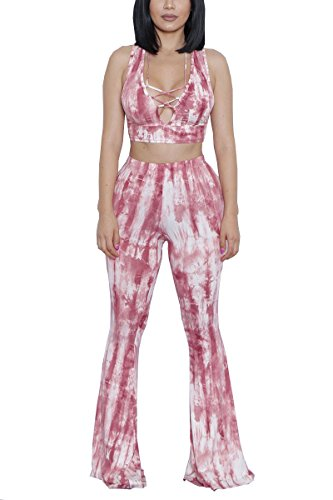 (Women's Sexy Tie Dye Print Bandeau Top Flared Bell Bottom Long Pants Outfits)