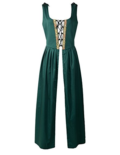 ReminisceBoutique Renaissance Medieval Pirate Peasant Costume Irish Over Dress Fitted Bodice (S, Green) -