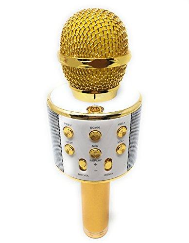 DLH MOBILE Portable Wireless Karaoke Microphone,Handheld Cellphone Karaoke Player Built-in Bluetooth HIFI Speaker, Selfie 3-in-1 Rechargeable Li-battery Karaoke KTV MIC Machine Gold (WS858) by DLH MOBILE (Image #6)