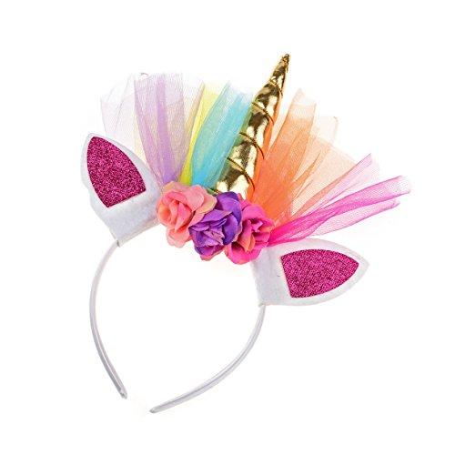 Floral Fall Rainbow Unicorn Horn Headband Girl Birthday Crown Headpiece DJ-03 (Gold)]()