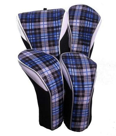 Taboo Fashions 4-Pack Designer Golf Club Cover Head Cover Set (Blue Tartan)