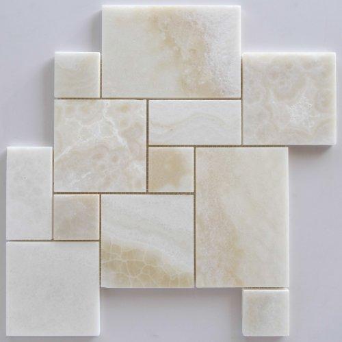 White Onyx OPUS Mini Pattern Mosaic Tile, Cross-Cut, Polished - Sample