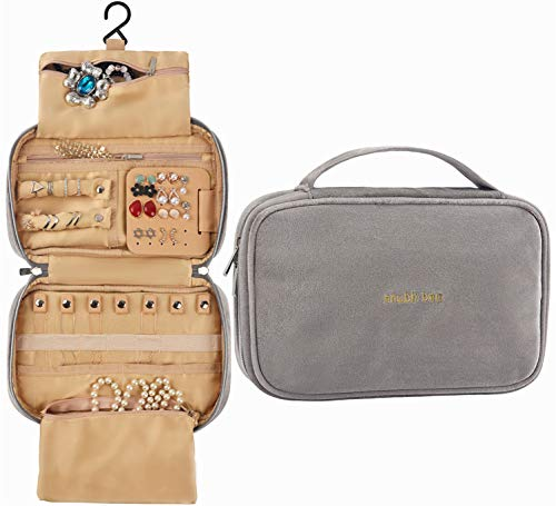 Shubb Travel Jewelry Organizer Bag, Velvet Traveling Jewelry Storage Case for Earrings Necklace Rings (Gray-Jewelry Bag)
