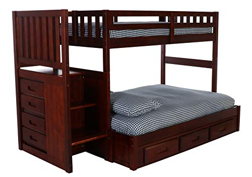 iture Mission Staircase Bed with 3 Drawer Storage, Twin Over Full, Merlot ()