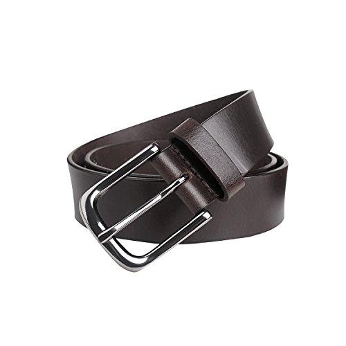 GSG Mens Rivet Luxury Tanned Buffalo Genuine Leather Belt Stylish Punk Rock Belts Pin Buckle Belt Strap for Men Nice Gift Brown ()