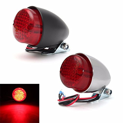 Hitommy Universal 12V Motorcycle LED Rear Lamp Tail Brake Stop Running Light Black Chrome - ()