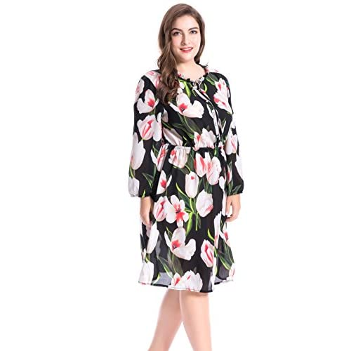 8fe744767f0 outlet Chicwe Women s Lily Printed Ruffled Collar Plus Size Dress with  Split Neckline 1X-4X