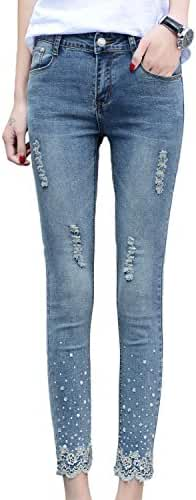 Chickle Women's Beaded Lace Midrise Washed Denim Skinny Ripped Jeans