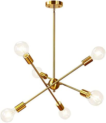 Bowrain 6 Lights Fixture Pendant Light Modern Sputnik Polished Gold Lamp Brushed Brass Mid Century Chandelier Hanging Flush Mount Light Fixture with Adjustable Arms for Dining Room Kitchen Living Room