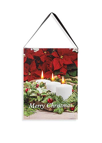 Lighted Holiday Canvas 6x8 – Vertical Merry Christmas Table Vignette with Poinsettia, White Votives, Holly and Ornaments