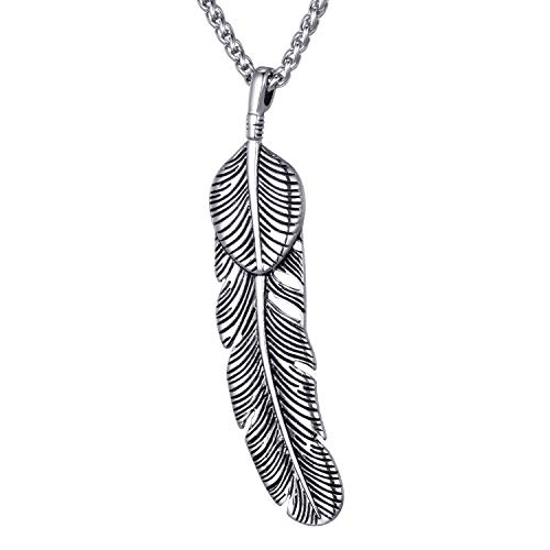 Moolee Mens Stainless Steel Pendant Necklace Takahashi Feather Pendant with 24 Inches Link Chain