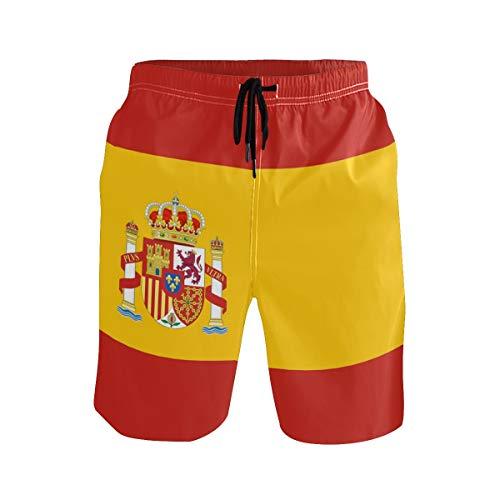 Gugize Mens Beach Board Shorts Spain Flag Swim Trunks