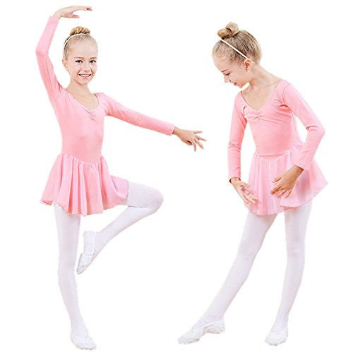 Children's Dance Costume Girl Long-sleeved Bowknot Ballet Performance Costumes Practice Clothes (11#, Pink)